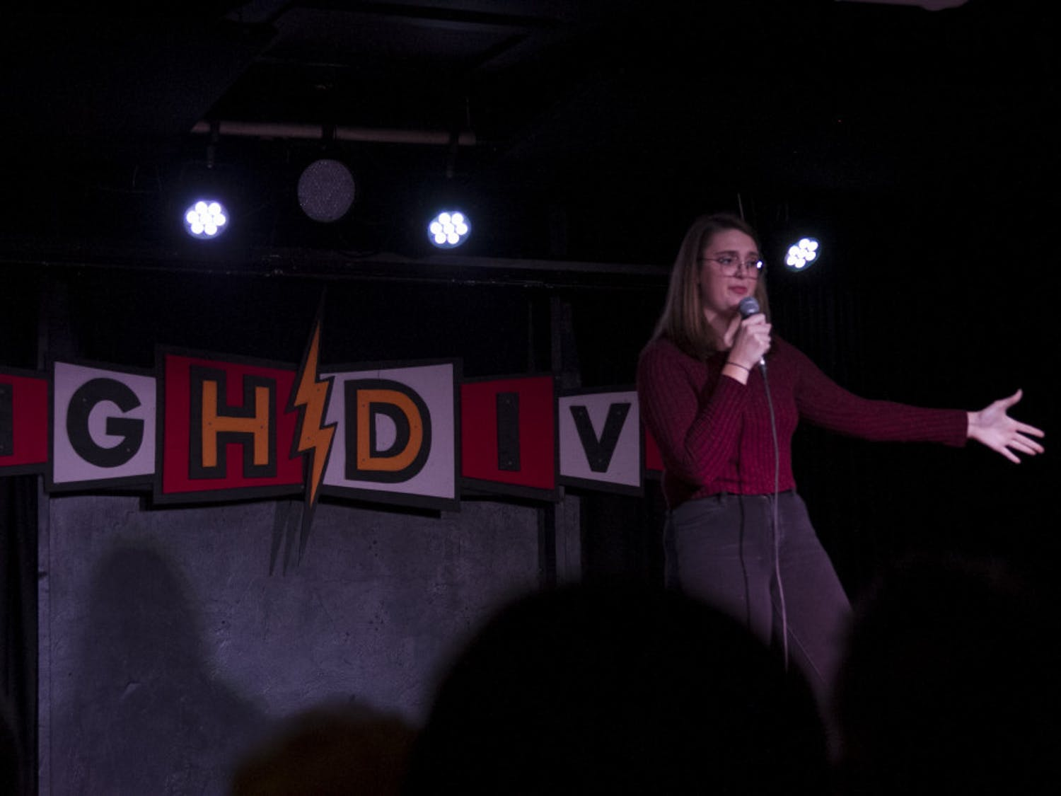 Alainna Whatley performs her standup set about a life changing experience she had at 13 years old in the Walmart bathroom.