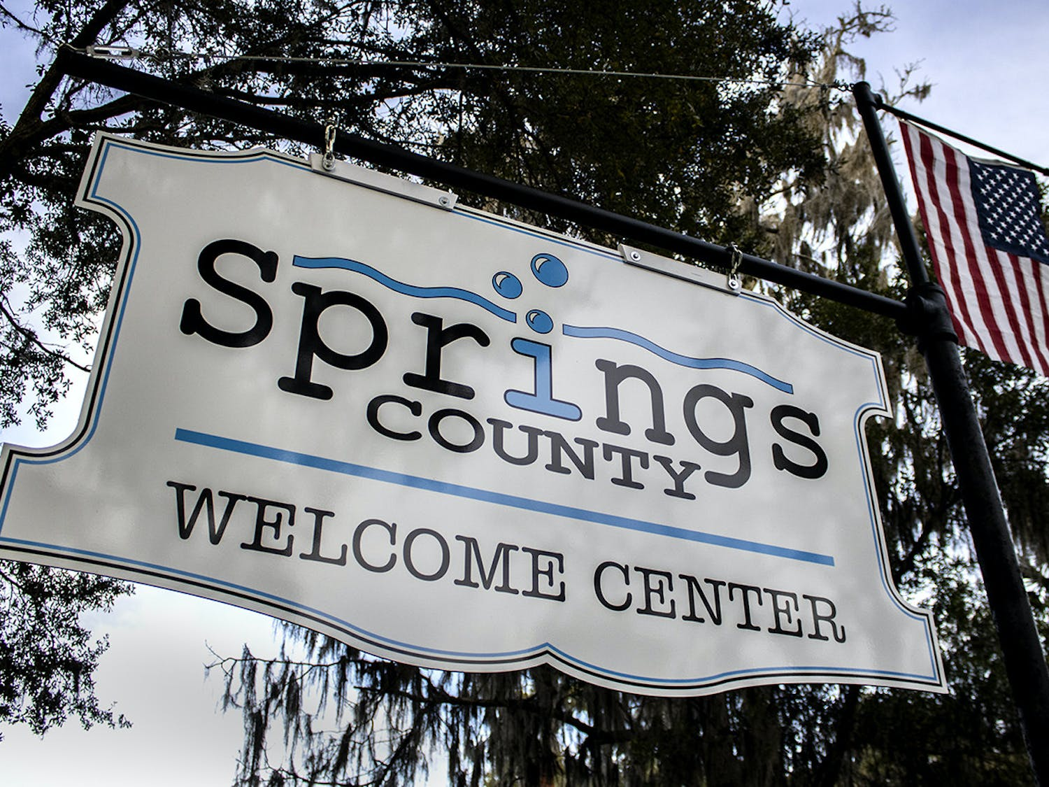 Photo of the the welcome center sign for proposed Springs County. The county would incorporate Newberry, High Springs, Alachua, Archer and Lacrosse in its territory.