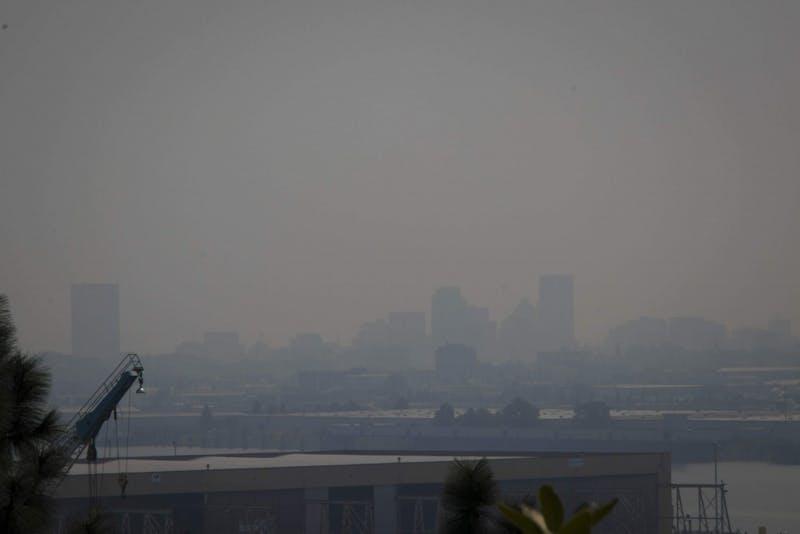 Smoke creates hazy film over downtown Portland.
