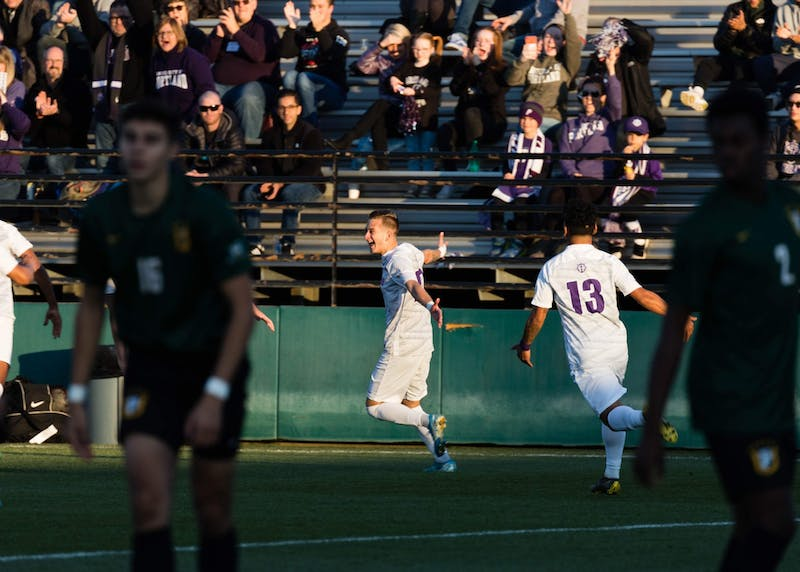 Senior midfielder Gio Magana-Rivera celebrates his goal.