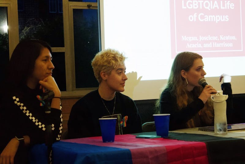 Joselene Piedra Rodriguez, Acacia Welsford and Megan MacInnes speak during a panel about LGBT+ inclusion during Diversity Dialogues.