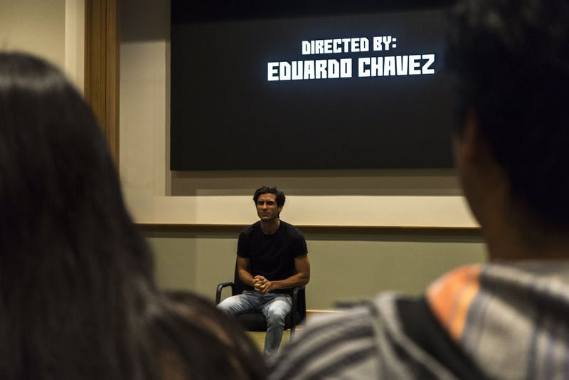 "Eduardo Chavez, grandson of Cesar Chavez, screened his film, ""Hailing Cesar,"" at UP in the Brian Doyle Auditorium on Thursday."