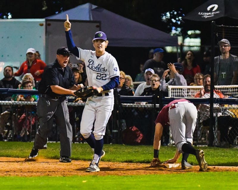Jace McKinney celebrates after making a big play. McKinney played for the Portland Pickles this past summer.