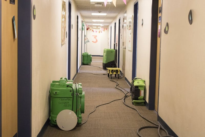 The sixth floor of Mehling Hall is still in the process of drying after the flooding. Other floors were affected, but not to the same extent.