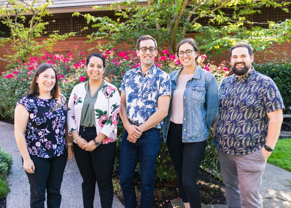 """The Office of Student Activities (OSA) celebrates """"floral Thursday."""" The OSA welcomed two new staff members for the 2019-20 school year."""
