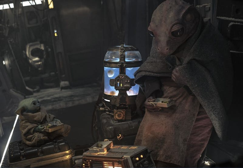 """In Chapter 10 of """"The Mandalorian"""", tensions run high after Mando, Baby Yoda, and their passenger crash on an icy planet.Photo: Star Wars"""