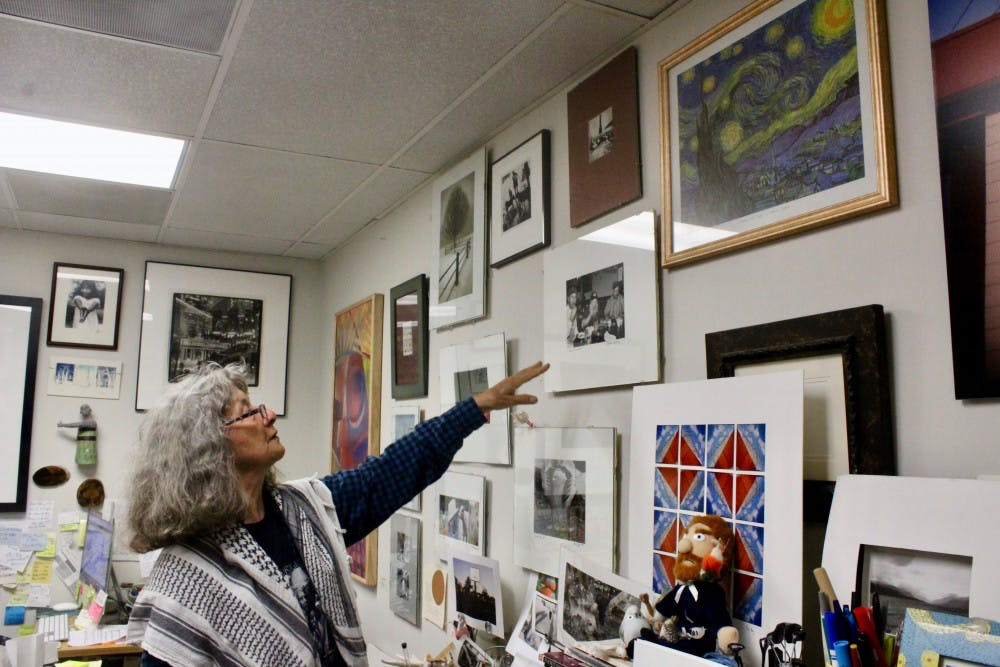 Photography professor Pat Bognar's office is a blend of her own pieces and pieces by colleagues and students.
