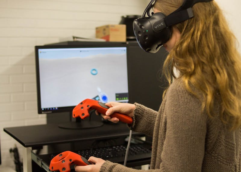 Virtual reality allows students to create objects, explore Google earth, observe cell structures and more in a three-dimensional universe. This new technology can be found in the digital lab in Clark Library.