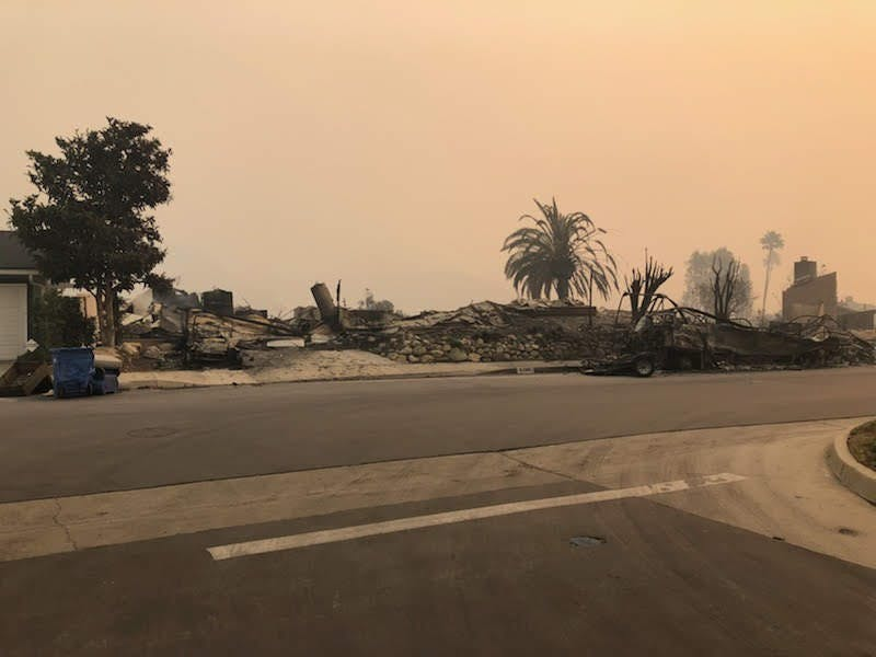 Photo of Kerr's brother's house near Pepperdine after it burned down. Photo Courtesy of Steve Kerr