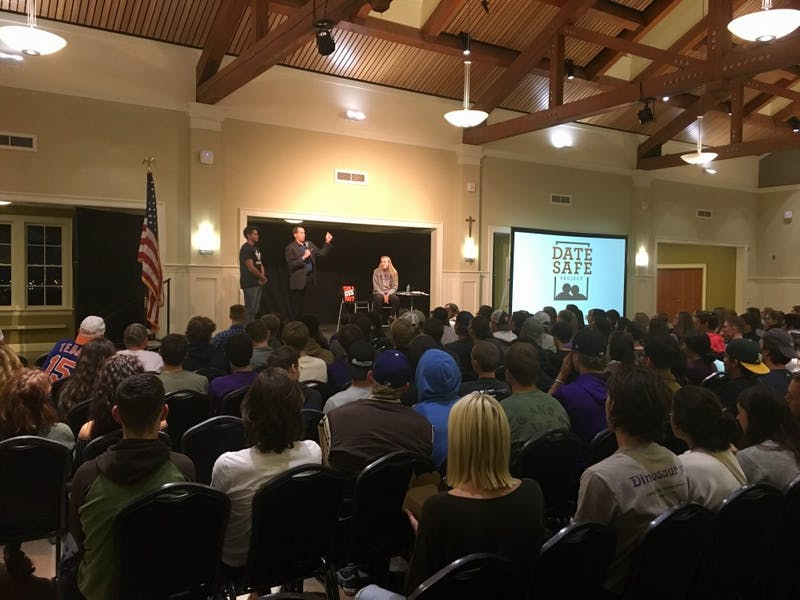"""On Oct. 10, national speaker Mike Domitrz led his """"Can I Kiss You?"""" event for athletes."""