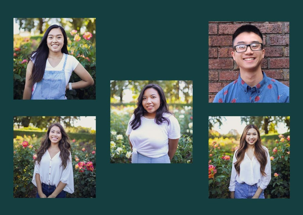 Top to bottom, left to right: Katelyn Nguyen, NganTranh Nguyen, Abby Dolor, Brian Phan, and Vivian Le, VSA members and officers. Canva by Dora Totoian.