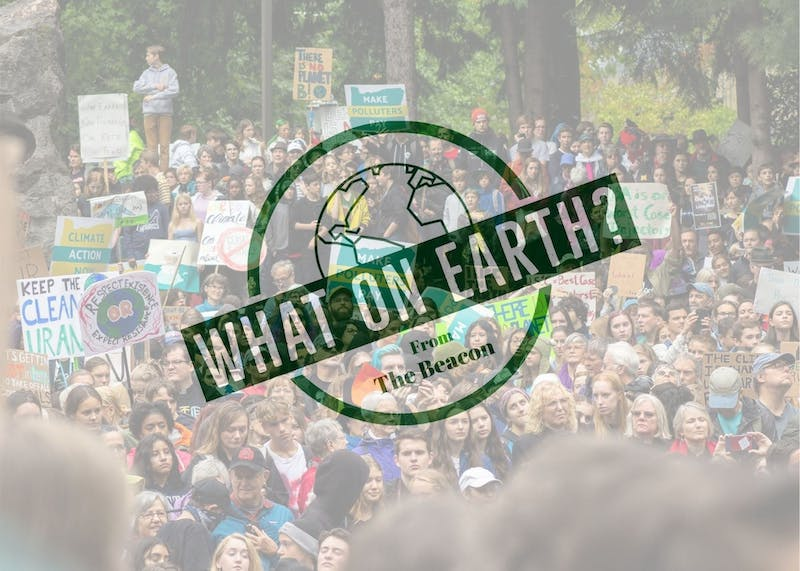 Episode 1 of What on Earth? covers climate change and the west coast wildfires. Photo illustration by Jennifer Ng.