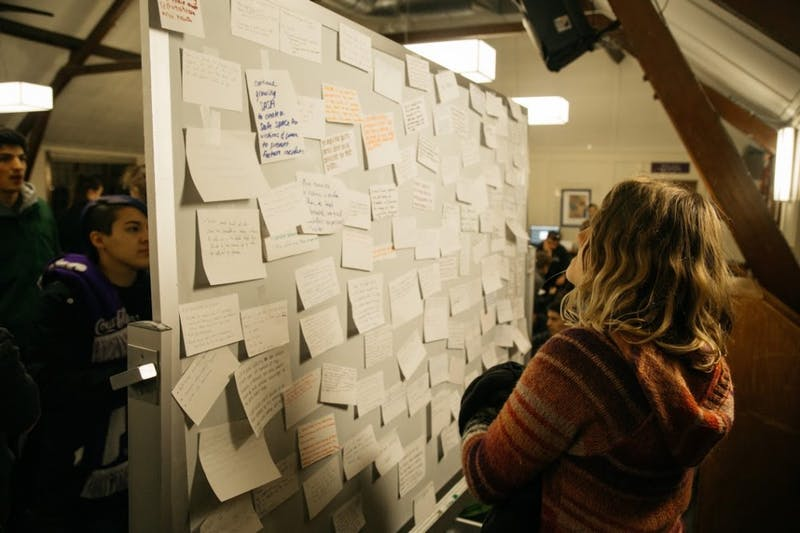 """Students wrote recommendations for how the school handles sexual assault at a """"stand-in"""" event in December."""