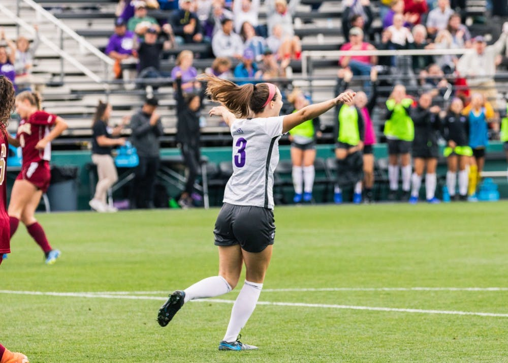 Number three MJ Roe celebrates after scoring her first career goal for the Pilots.