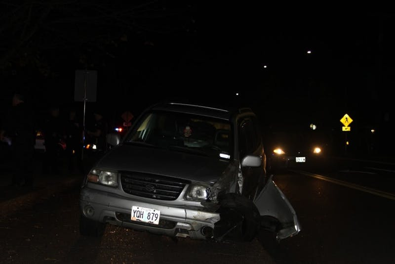 There was a car crash in front of UP's main entrance Thursday night.