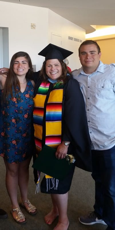 Amanda Hernandez Michalski is a sophomore math major at the University of Portland. She is pictured here with her mother and brother. Photo courtesy of Amanda Hernandez Michalski.