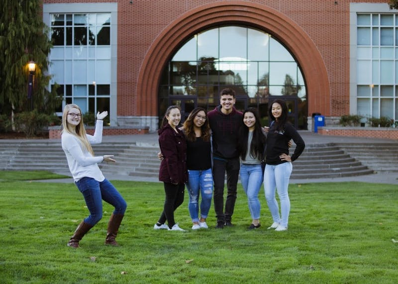 The Beacon's Community Engagement Editor Natalie Nygren (far left) poses alongside Circle K International's club officers. From left to right: Secretary Alyssa Ong, Bulletin Editor Kate Malonzo, President Aymon Klem, Vice President Tiana Igarashi and Treasurer Kaylee Guerrero.