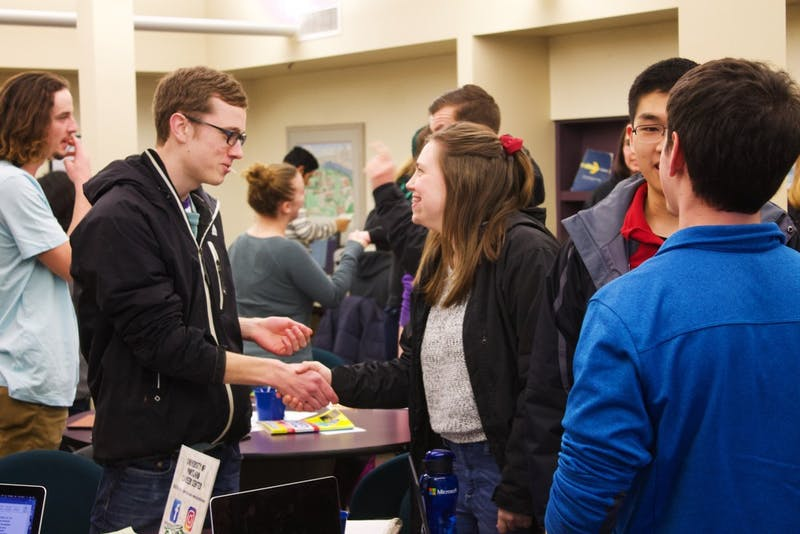 Students practice their interviewing skills in the Career Center. On Friday March 2nd, the First Avenue Career & Graduate School Expo will be held in Chiles Center, giving students the opportunity to explore career and grad school options.