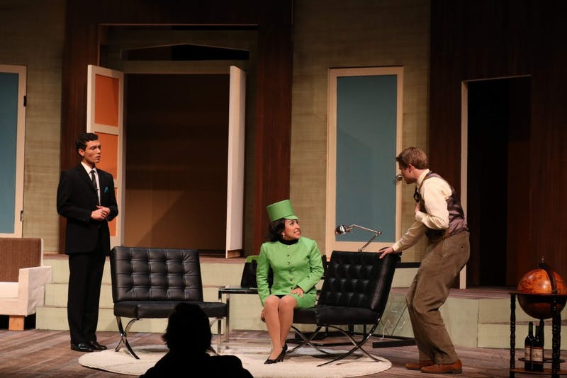 Junior Sam Baldwin, junior Kai Hynes and junior Aurora Hernandez rehearse a scene before opening night.