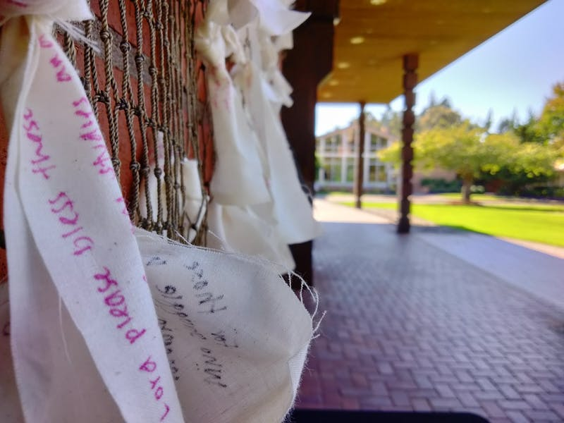 Students are invited to write a prayer intention for themselves or a loved one and tie it to the net in front of the chapel.