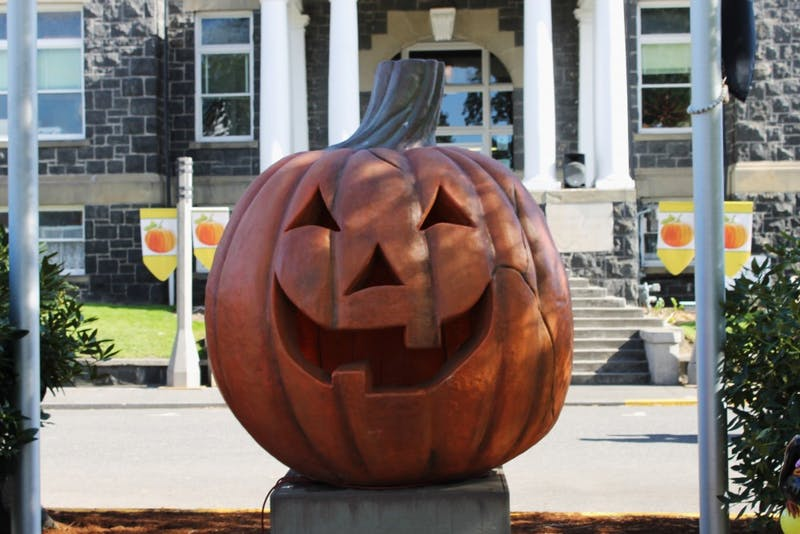 The giant pumpkin that Marnie lights in order to defeat Kalabar is found in front of Halloweentown's city hall. Halloweentown returns to St. Helens, Oregon every year for the month of October.