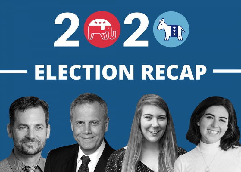 The week after the election, Beacon reporter Fiona O'Brien and a reporter on the Elections Data team for Associated Press, Rachel Rippetoe, joined Political Science professors Gary Malecha and Bill Curtis to discuss the unprecedented political race.Graphic by Molly Lowney