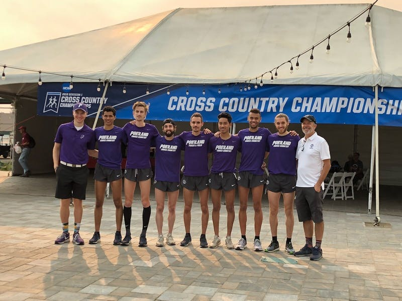 The men's cross country team pictured at the 2018 NCAA West Regional. The Pilots defended their title in Colfax, Washington this past weekend. Photo courtesy of Pilot Athletics.