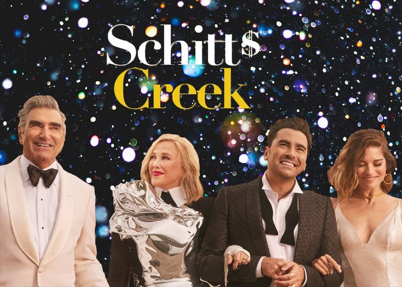 """Karen Eifler, co-director of the Garaventa Center, spoke about the wisdom we can learn from the sit-com """"Schitt's Creek."""" Collage by Jennifer Ng. Images from Unsplash and IGN."""