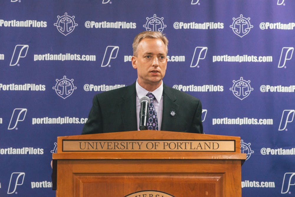 Michael Meek was formally introduced on Monday University of Portland's new women's basketball coach.