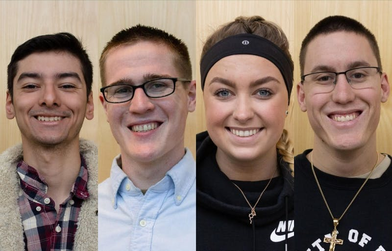 Five students share  personal narratives about identifying as a conservative on a predominantly liberal campus. Left to Right: Jordan Lozano, Lincoln Miller, Madison Wagner and Chris Tibbetts. Not pictured: Madison Murphy.