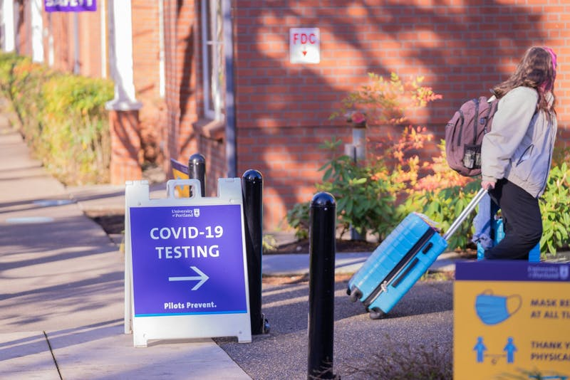 A sign points students towards COVID-19 testing facilities.