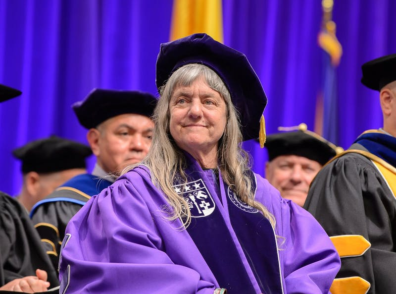 Susan Sygall received an honorary degree from the University of Portland at the 2019 graduation. She will be returning to campus Monday for a talk on disability rights and inclusion. Photo courtesy of University of Portland Marketing and Communications.