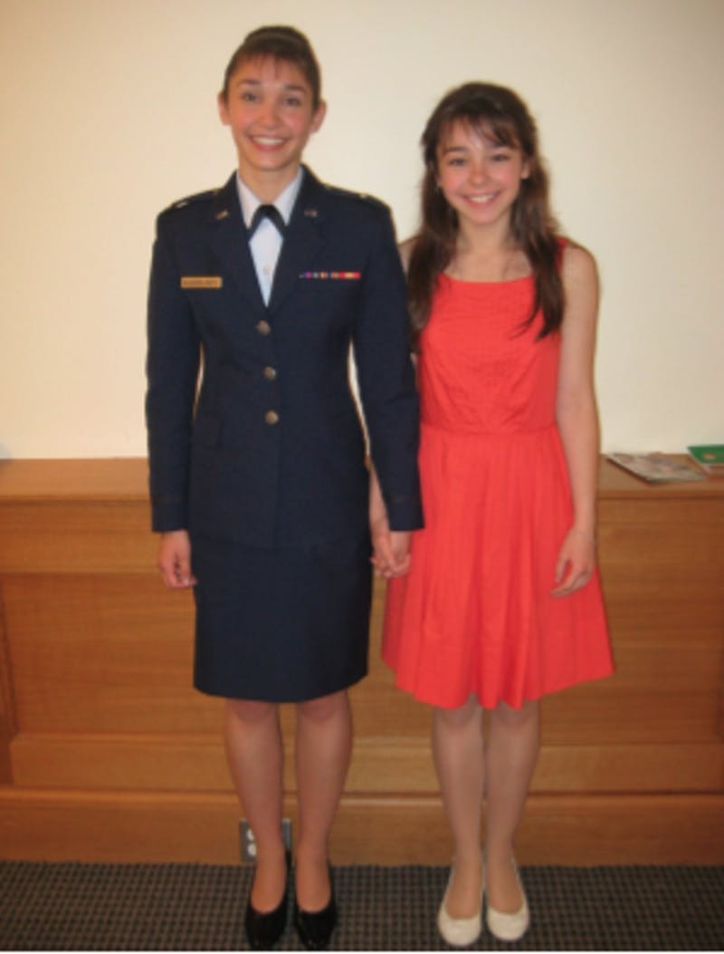 Smith and her sister at an ROTC Commissioning Ceremony. Photo courtesy of Valerie Smith.
