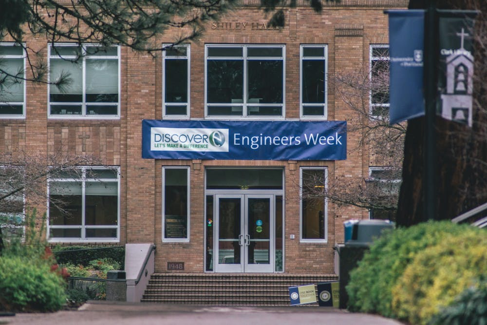 Shiley Hall proudly displays an Engineers Week banner above the main entrance.