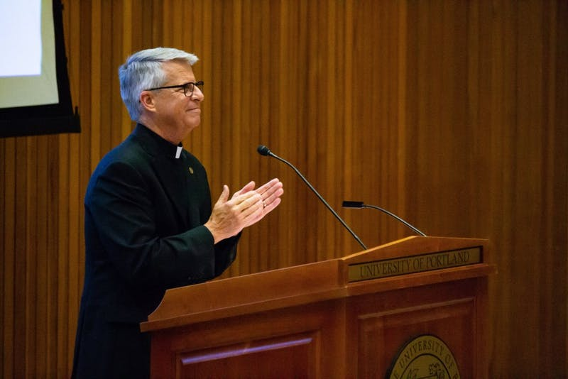 In the afternoon on Tuesday, August 28, University President Father Mark Poorman gave a convocation reviewing all of the improvements the University worked on over the summer. He addressed subjects like Title IX, promotions to the leadership cabinet, and ongoing construction projects on campus.