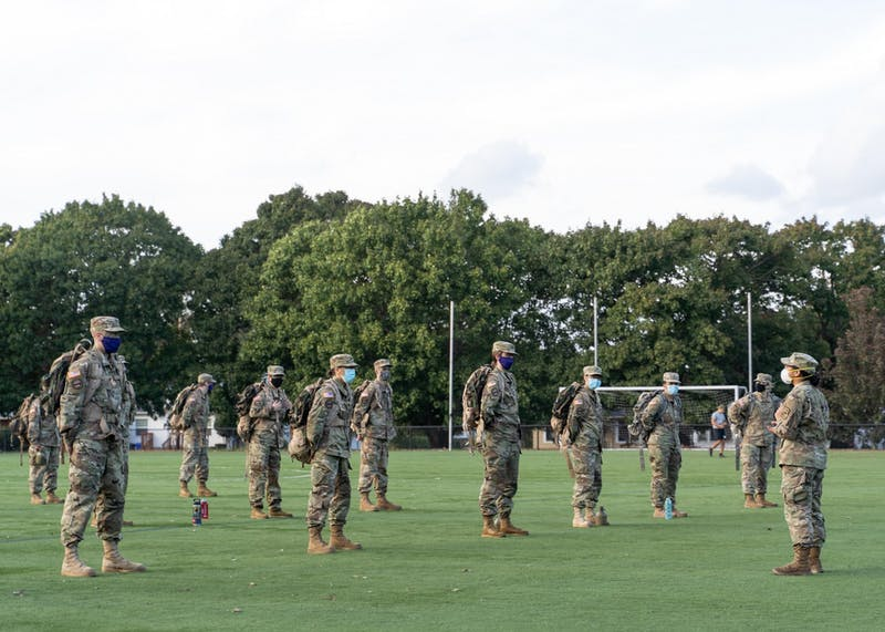 University of Portland ROTC cadets stand in formation at the beginning of the lab. Masks are required for the duration of the exercise, and each formation has been adjusted to account for social distancing measures.