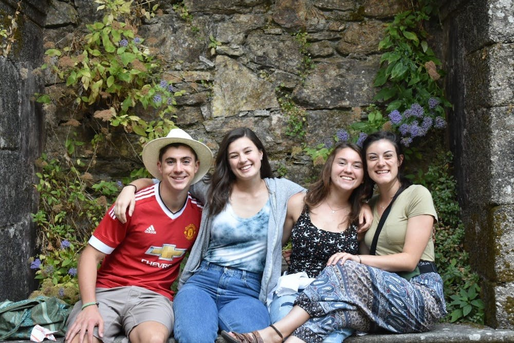 (Left to right) Cole Fitter, Rebecca Cole, Katie Wojda and Hannah Twomey smile while in Spain. Photo courtesy of Rebecca Cole.