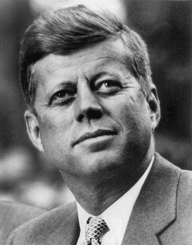 The official White House photo of President Kennedy. From Wikimedia Commons.