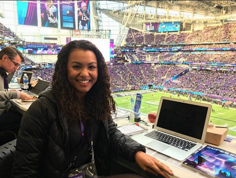 Malika Andrews, former Beacon editor-in-chief, covered the 2017 Super Bowl for the New York Times. Submission by Malika Andrews