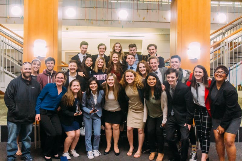 The Mock Trial team poses after winning a tournament in Eugene. Photo Submission by Kelly Krigger