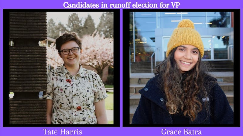 There will be a runoff election between Tate Harris and Grace Batra for the position of ASUP Vice President. Photo submissions from Tate Harris and Grace Batra.