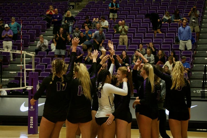 The Pilots celebrate their first 2018 win in Chiles Center.