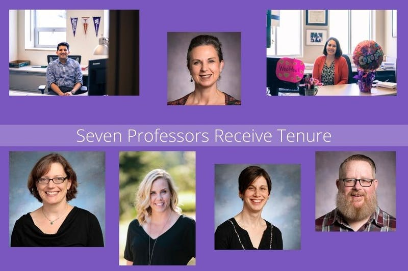 This spring, the University of Portland Provost's Office granted tenure to seven professors. Photos courtesy of Brennan Crowder, Natalie Nelson-Marsh and the University of Portland. Canva by Maddie Pfeifer.