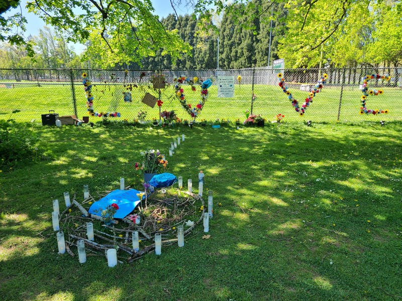 This is the memorial for Robert Delgado, who was shot and killed by a police officer in Lents Park on April 16. Photo Courtesy of Alicia Printemps-Herget.