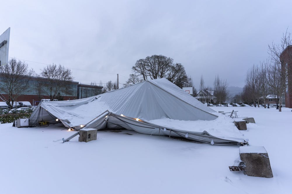 Campus tent that collapsed during the storm.