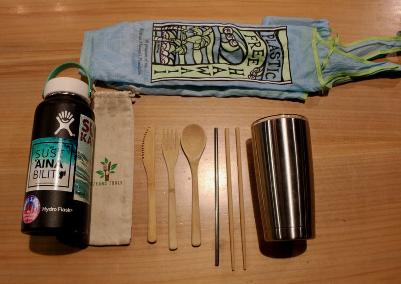 Eliminate your usage of single-use plastic by creating your own sustainability kit including a water bottle, bamboo utensils and a reusable grocery bag.