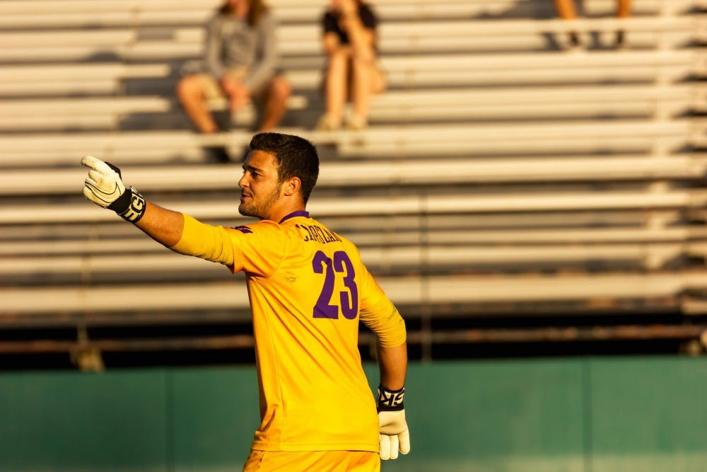 Junior goalkeeper Nico Campuzano played a solid 90 minutes against Coastal Carolina.