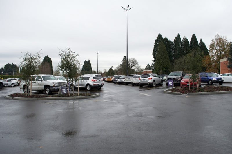 The UP main parking lot is in the center of campus where many students, faculty and staff park their cars for the day. One car was stolen from the main lot behind the Pilot House on Feb. 7. This photo was taken in 2018.