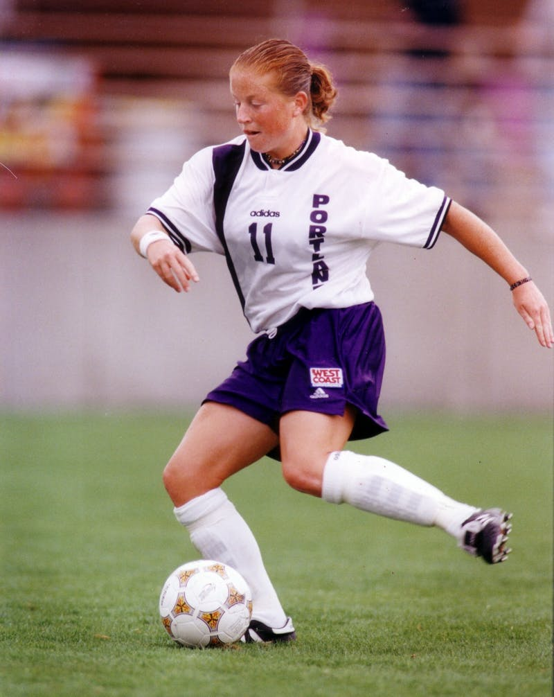Current women's soccer coach Michelle French rocked the white and purple back in the day. Photo courtesy of Portland Pilots Athletics.