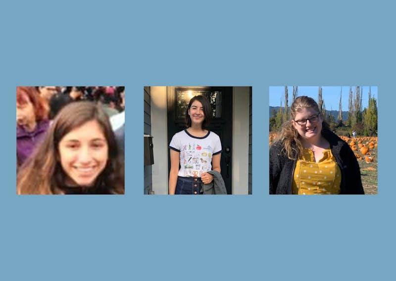 From left to right, Jewish Student Union Leaders: Maayan Zuniga, secretary, Natasha Ma, president, and Sydney Klaiman, Shabbat coordinator.